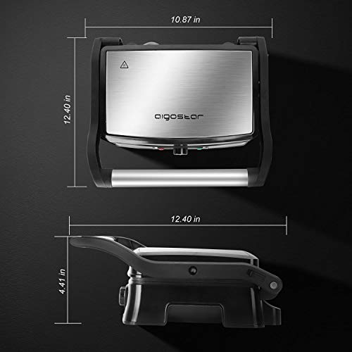 Electric Panini Press Indoor Grill Sandwich Maker, Aigostar 1500 Watts Versatile Grills with Floating H, Removable Drip Tray and 180 Degree Opening Function