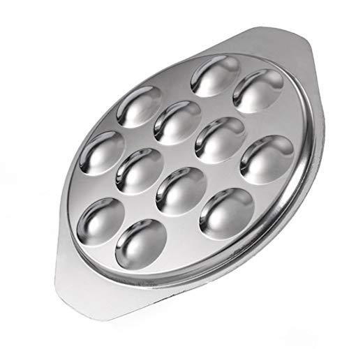 PIXNOR Plato de Escargot de Acero Inoxidable Plato de 12 Agujeros de Compartimiento Escargot Plato de Cocina para Hotel Y Restaurante Caracol Hongo Plata