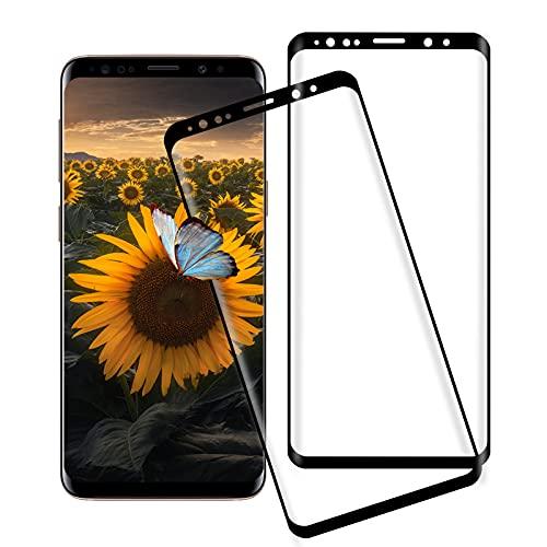 [2 pezzi] Vetro temperato per Samsung Galaxy S9, 3D Copertura completa, 9H-Durezza, Anti-bolle, HD Clear, Pellicola Protettiva in Vetro Temperato per Samsung Galaxy S9 - Nero