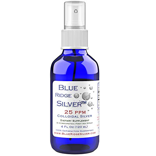 Blue Ridge Silver 25 ppm, 4 oz Fine Mist Colloidal Silver Spray Natural Immune Support Health Supplement