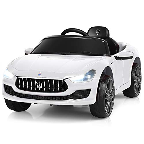 Costzon Ride on Car, 12V Licensed Maserati Gbili, Battery Powered Car w/2 Motors, Remote Control, LED Lights, MP3, Horn, Music, Spring Suspension, Two Doors Open, Kids Electric Vehicle (Pure White)