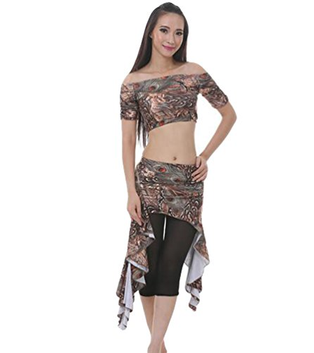 ZhiYuanan Damen 3 Pcs Belly Dance Bauchtanz Pfau Taillenrock Anzug Tanzen Bekleidung Tops & Hose & Rock Kaffee
