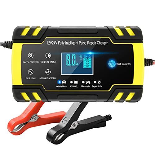 Directtyteam Cargador de batería Inteligente portátil 8A 12V / 4A 24V Pantalla LCD con múltiples Protectores Tipo de reparación para batería de automóvil Motocicleta (Yellow)