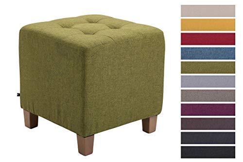 CLP Sitzhocker Pharao mit Stoffbezug I Sitzwürfel mit hochwertiger Polsterung und Bodenschonern Grün