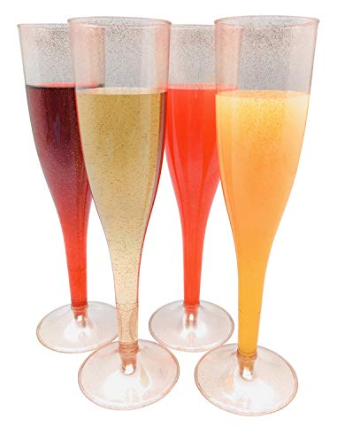 Rose Gold Glitter Plastic Classicware Glass Like Champagne Wedding Parties Toasting Flutes (1 Box = Quantity 30)