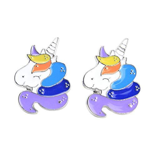 FENICAL 2 Piezas Unicornio Pin de Solapa Broche de Unicornio Insignia de Dibujos Animados Lindo...