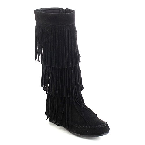 REFRESH JOLIN-02 Women's Fringe Moccasin Knee High Boots Black 7.5