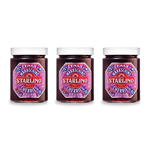 Italian Maraschino Cherries | All-Natural | Gluten Free | Award Winning | by Hotel Starlino | 400g/14.1oz Glass Jar (3 Pack)
