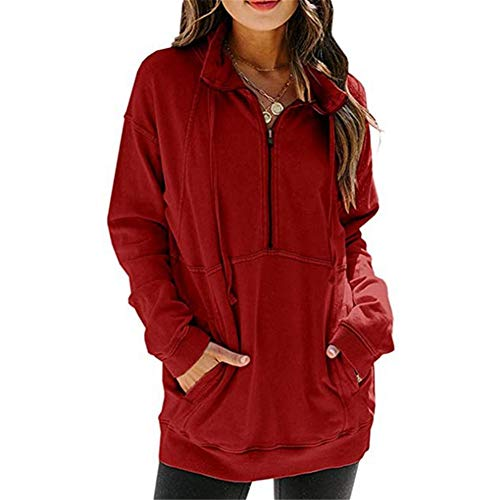 ZFQQ Autumn and Winter Women's Jacket Kangaroo Pocket Half Zipper Long Sleeve Solid Color Casual Sweater Red
