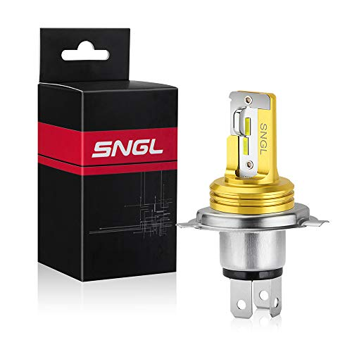 SNGL 9003 H4 Motorcycle Led Headlight Bulb HS1 HB2 P43t hi/lo Beam Fanless without Glare 3000LM 6000K Xenon White ( Pack of 1 )