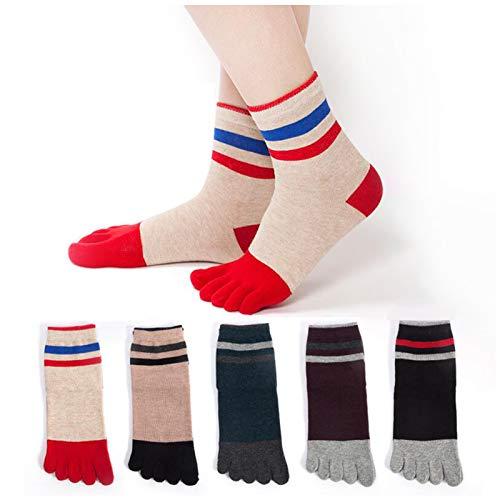 QMMD Womens Toe Socks Cotton Five Finger Running Socks Mini Crew Sport Socks, Cute Animal Sports Socks, Ladies Color Socks, Soft and Breathable, Size 2-7,B‐5 pair