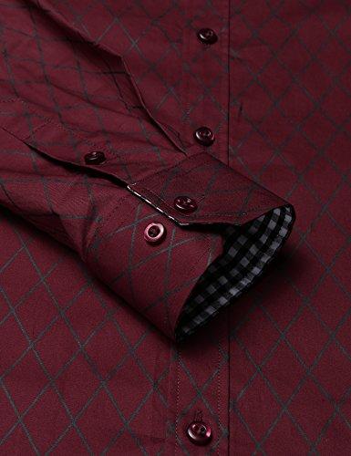 COOFANDY Herren Hemd Slim Fit Diamant-Gitter Karohemd Kariert Langarmshirt Freizeit Business Party Shirt für Männer - 3