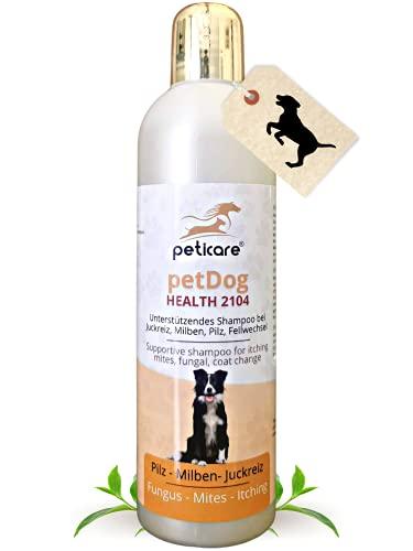 Peticare Hunde Pflege-Shampoo bei Juckreiz Milben Pilz Floh - Spezial Hunde-Shampoo bei unangenehmem Fell-Geruch, pflegt die Hunde-Haut, effektive Pflege-Formel - petDog Health 2104