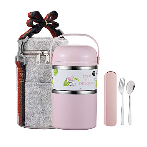 YBOBK HOME Cute Bento Lunch Box with Flatware Set Stackable Lunch Box Stainless Steel Lunch Box Leak Proof Bento Box Insulated Reusable Meal Prep Container for Kids and Adults (2-Tier, Pink)