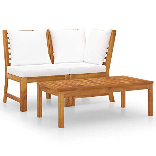 Tidyard Muebles de jardín 3 pzas Sofá de Moderno Sofá de Jardin Exterior Madera Maciza de Acacia Cojines Crema
