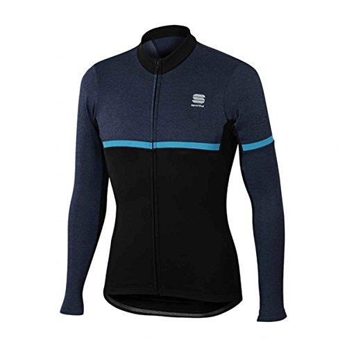 Sportful A1101823 - Maglia da ciclismo da uomo Giara Warm, Uomo, Nero/Black Iris Melange/Blu, Medium