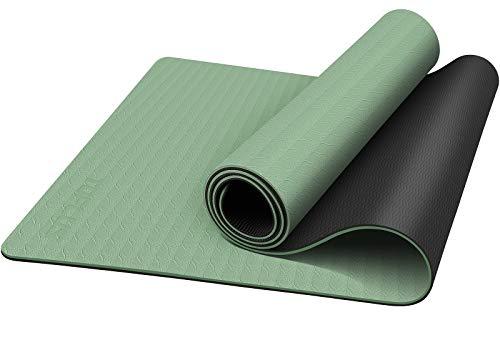 TOPLUS Yogamatte Gymnastikmatte Trainingsmatte Übungsmatte mit Tragegurt rutschfest gut für Anfänger bei Yoga für Fitness, Pilates & Gymnastik, 183 x 61CM (Hellgrün & Schwarz)