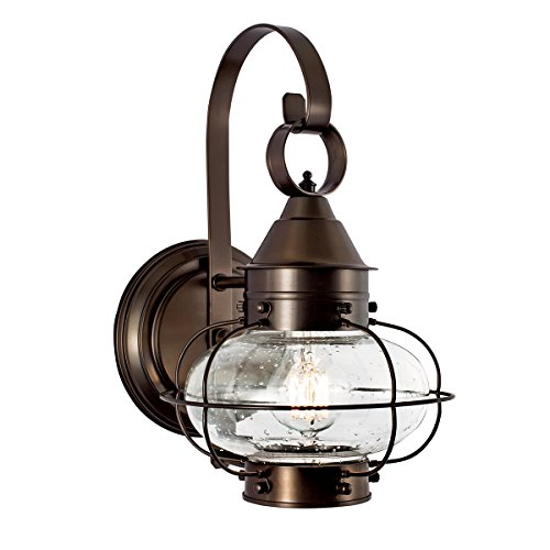 Norwell Lighting Small Cottage Onion Single Light Wall Mount Lamp 1323-BR-SE Bronze Finish with Seedy Glass