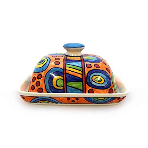 Gall&Zick Beurrier avec couvercle en céramique multicolore peint à la main (Ronda Orange)