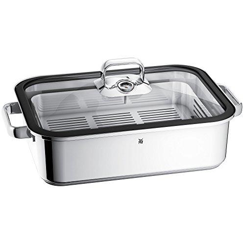 WMF Vitalis Fuente rectangular de cocción al vapor con Rejilla, tapa con borde de silicona, acero inoxidable pulido, 6.5 L