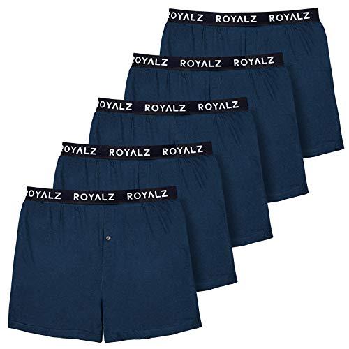 ROYALZ 5er Pack Boxershorts Weit für Herren American Style Comfort Unterhosen klassisch 100% Baumwolle Weich Locker 5 Set Männer Unterwäsche, Farbe:Navy Blau, Größe:XXL