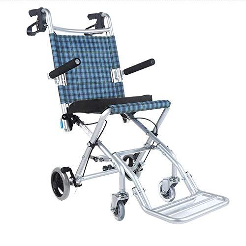 Wheelchair Turismo portátil pequeña Silla de Ruedas, aleación de Aluminio con Doble luz de Freno Plegable Puede ser tomado a Bordo de Ancianos/niños/Carro discapacitados Vehículo de Cuatro Ruedas