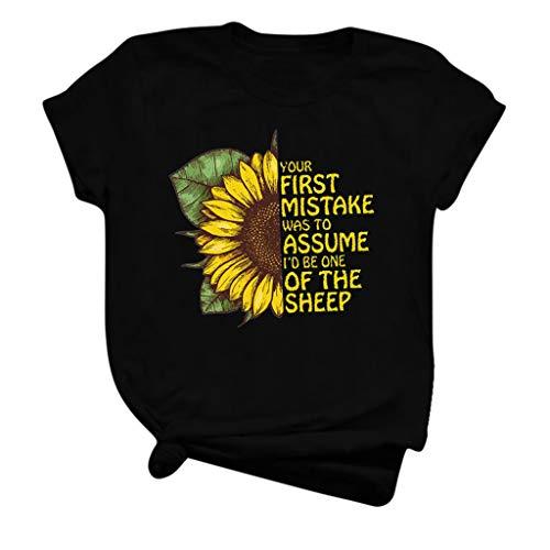 Kledbying Women Shirt Short Sleeve Graphic Tee Shirt Funny Sunflower Letter Print Shirt Top Black