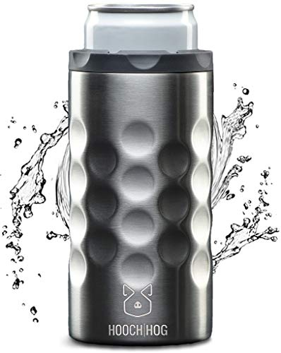 Hooch|Hog Slim Can Cooler Stainless Steel for 12 oz. Skinny Cans | 3x Insulated Beer Can Holder for Michelob Ultra, White Claw, Truly & Redbull