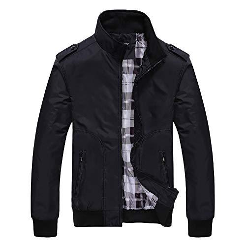 Riou Herren Windbreaker Windjacke,Männer Herbst Winter Draussen Slim Fit Reißverschluss Einfarbig Winddicht Jacken Trenchcoat (XL, Schwarz)