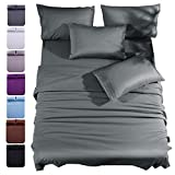 Shilucheng Queen Size 6-Piece Bed Sheets Set Microfiber 1800 Thread Count Percale 16 Inch Deep Pockets Super Soft and Comforterble Wrinkle Fade and Hypoallergenic(Queen,Dark Grey)