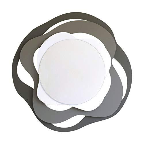 Arti & Mestieri Isotta – Miroir design 100 % fabriqué en Italie – en fer, 83 x 80 cm – Anthracite, ardoise et blanc