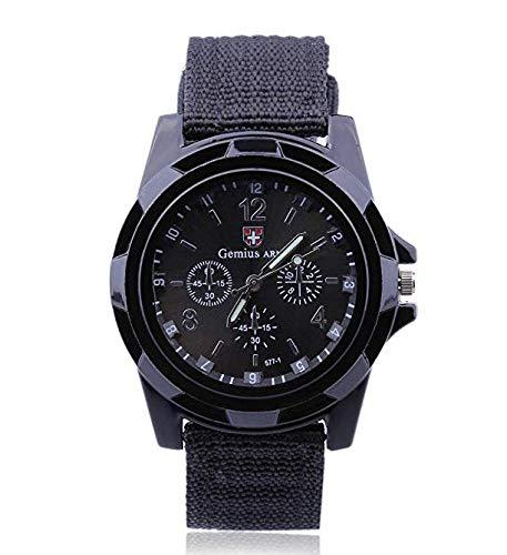 Leayao, Orologio Militare alla Moda con Treccia, da Uomo, Colore Nero, XL611C2N01B0151ZQ, Nero
