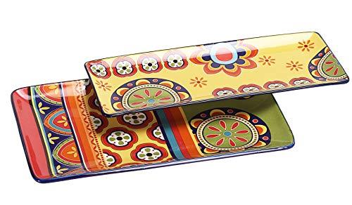 Bico tunesische Keramik-Servierplatte, rechteckig, 35,6 cm, 2 Stück, zum Servieren von Salat, Nudeln, Käse, Schinken, Vorspeisen, Mikrowellen- und Spülmaschinenfest
