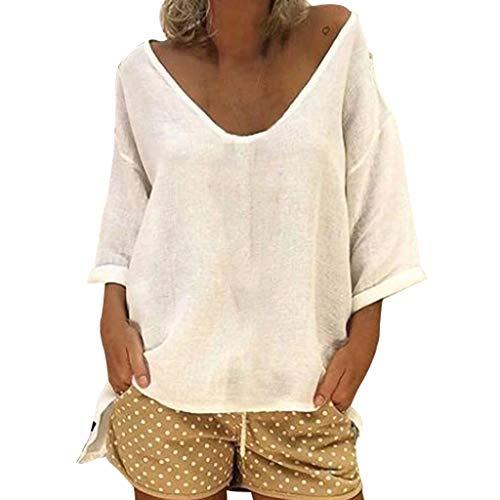 Zarupeng vrouwen Solid Casual Baggy 1/2 mouwen T-shirt met V-hals katoen linnen strand tuniek blouse bovenkant Plus Size S-5XL