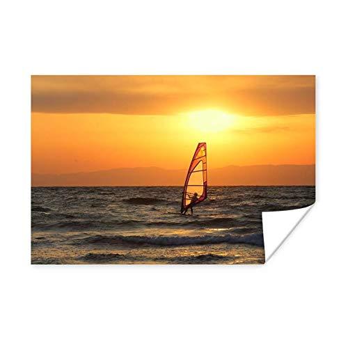 Poster Windsurfen - Windsurfer bei Sonnenuntergang 180x120 cm / XXL Sport / Large Format! - Fotodruck auf Poster - Wanddekoration Wohnzimmer / Schlafzimmer