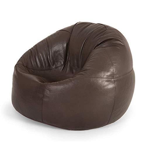 """Icon Klassischer Sitzsack """"Valencia"""", Braun, 85cm x 50cm, Leder, Sitzsäcke für das Wohnzimmer, Groß, Naturleder, Stuhl für das Schlafzimmer"""