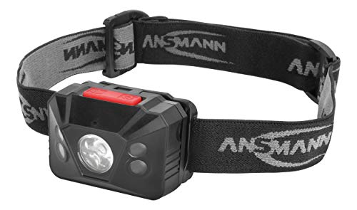 ANSMANN LED hoofdlamp HD150BS met gebarenbesturing incl. batterijen - professionele LED werklamp met 150 lumen - hoofdlamp LED met sensor ideaal voor fietsen lopen met hond joggen vissen werkplaats jacht