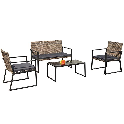 PATIOROMA 4 Pieces Patio Loveseats Outdoor Furniture Sets with Seat Cushions, Outdoor PE Wicker, Gradient Brown
