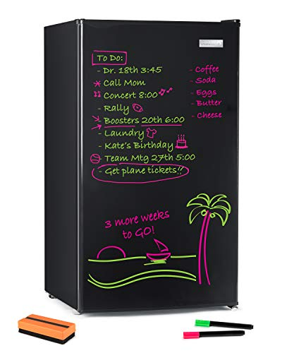 Igloo IRF32EBBK Dry Eraser Board Refrigerator, Freezer, Removable & Adjustable Glass Shelves, Beverage & Food Storage , 2 Pens & Eraser-3.2 cft, Black