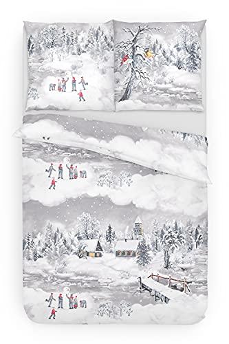 Träumschön Biber Bettwäsche 135x200 2tlg   Kuschelige Bettwäsche Schneelandschaft   Bettwäsche aus 100% Baumwolle   Tolle Winterbettwäsche