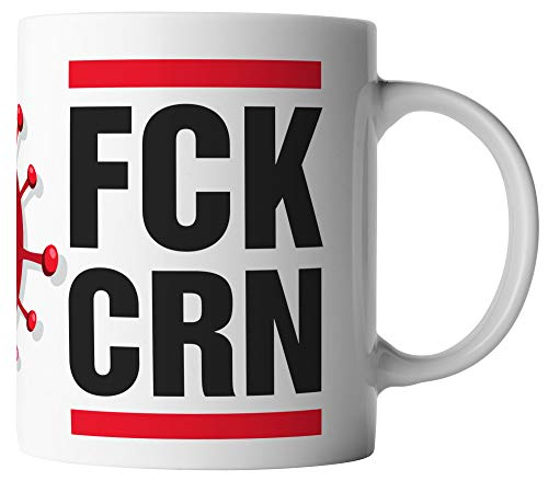 vanVerden Tasse - FCK CRN - Coronavirus 2020 COVID-19 - beidseitig Bedruckt - Geschenk Idee Kaffeetassen mit Spruch, Tassenfarbe:Weiß