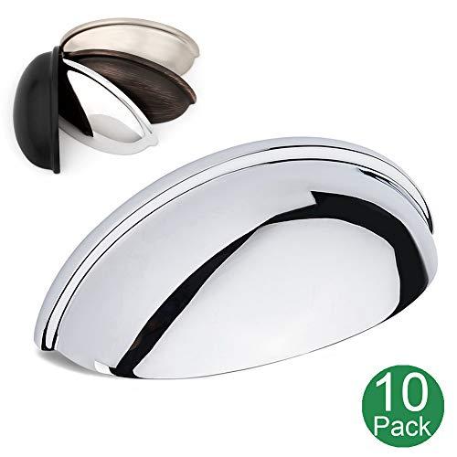 Koofizo Bin Cup Drawer Pull - Polished Chrome Cabinet Handle, 76mm / 3 Inch Screw Spacing (10 Pack) for Kitchen Cupboard Bedroom Dresser Bathroom Furniture Door