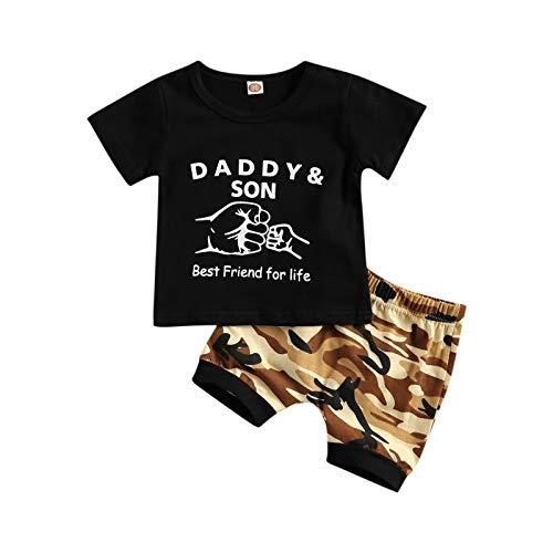 WangsCanis 2 camisetas de manga corta para bebé con estampado de camuflaje, pantalones informales, chándal de verano Negro 18- 24 meses