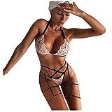 Conjuntos de lencería para Mujer Lencería Sexy Disfraces de Mujer Sujetador de Vendaje inalámbrico de Encaje Tanga Tentación Ropa Interior de Liga Mujeres Sexy Set-Pink_M