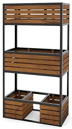 Hochbeet Cube Metall & Holz - 3 Etagen Gemüsebeet Kräuterbeet - Beet für Terrasse Balkon & Garten
