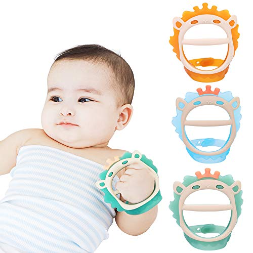 Baby Teething Toys for 06 and 612 Months Teethers 3packs for Infants BPAFree EcoFriendly NonToxic Silicone Adjustable Wristband Chew Natural teethers for Babies