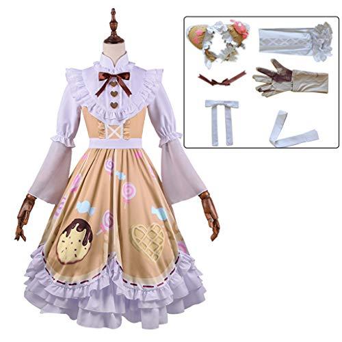 Disfraz de sirvienta para Mujer, 7 Piezas como un Conjunto, Disfraces de Criada de Anime Cosplay Costume, Uniforme de Algodón Falda, Juego de rol Adultos
