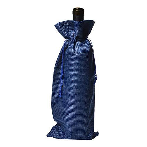 Daaimi - Bolsa de vino con cordón para botellas de vino, para regalos de boda, al aire libre, camping, bar, restaurante, 5 unidades 35 * 15cm azul marino