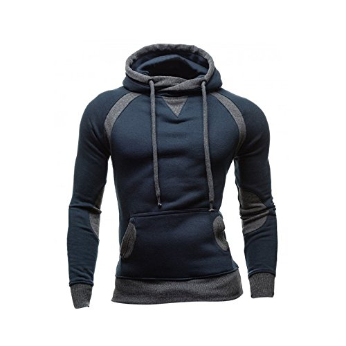 VECDY Herren Bluse,Räumungsverkauf-Herren Männer Winter Slim Hoodie Warm Pullover Sweatshirt mit Kapuze Mantel Outwear Lässiger Kapuzenpullover(Marine,50