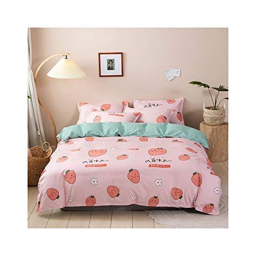 AmDxD, beddengoed, 200 x 230 cm, 4-delig, 1 x dekbedovertrek, 2 x kussenslopen van polyester met aardbeien, bloemetjes, klein roosterpatroon, met ritssluiting, slaapcomfort, zacht (rozegroen, stijl 2)